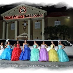 Prom goers posing outside the Royal Palace Ballrooms venue
