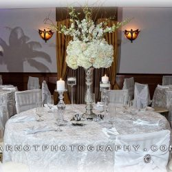 One of the wedding reception tables at Royal Palace Ballrooms