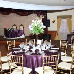 Purple and white wedding reception at Royal Palace Ballrooms