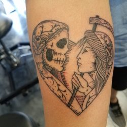 Custom tattoo sketch art with traditional line-work of Death with a woman that makes a heart.