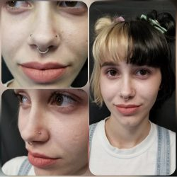 Double nostril piercing with 18 gauge internally threaded CZ stones and a 16 gauge 9 stone clicker septum piercing.