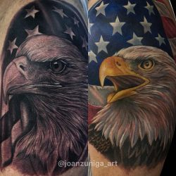 Comparison of full color vs. black and gray realism tattoos of a bald eagle with an American flag in the background.