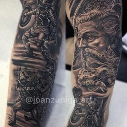 Roman gods black and gray realism tattoos. Gladiator in armor with weapons, battling in the Colosseum.