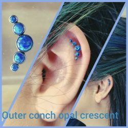 Outer Conch piercing with a 16 gauge internally threaded flat-back barbell with a five cluster blue opal top.