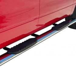 black and silver nerf bar on red truck