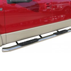red truck with silver and black nerf bars