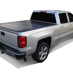 silver truck with a tonneau cover