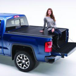 retractable tonneau cover on blue truck