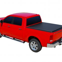 black tonneau cover on red truck