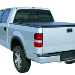 silver truck with a black tonneau cover