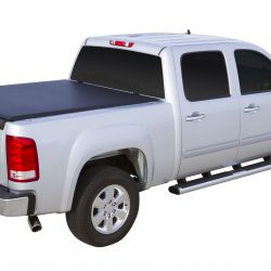 black tonneau cover on a silver truck