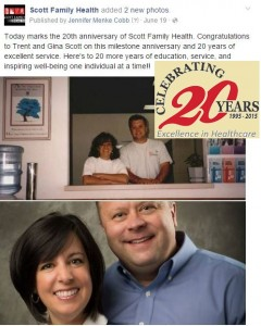 Scott Family Health's 20th anniversary was one of our top posts on Facebook this past year.