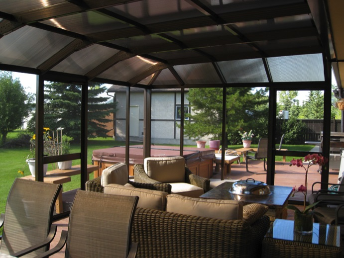 Image of a polycarbonate roof over patio