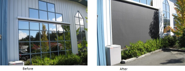 Before and After image of windows with and without a screen