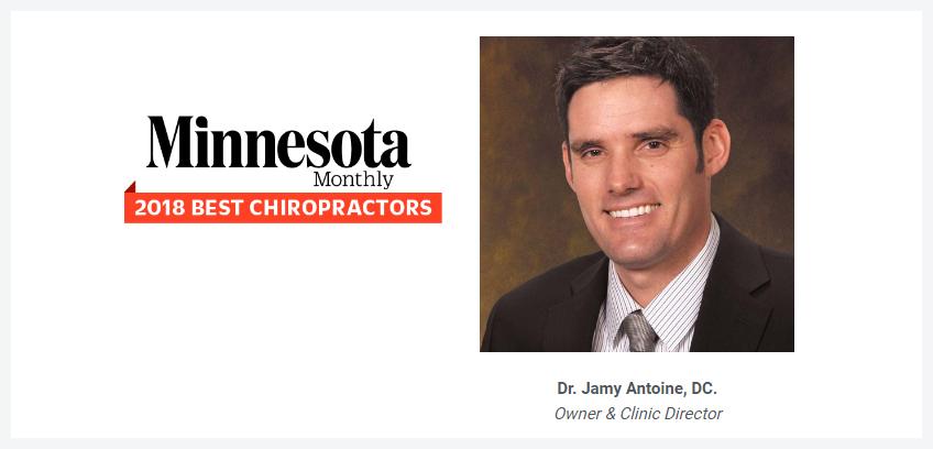 Minnesota Monthly 2018 best chiropractors - Dr. Jamy Antoine, DC.