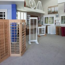 An image of some shutters on display in Shutters And More's showroom in Los Angeles.