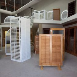 An image of some window shutters on display in Shutters And More's showroom in Los Angeles.