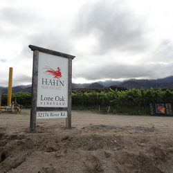 View of the custom vineyard sign for Hahn Estates