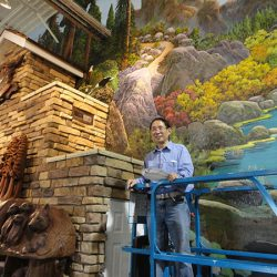 A giant custom wall mural for an outdoorsy client