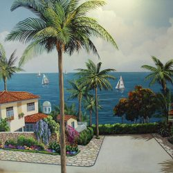 A beautiful beach landscape on one of our custom wall murals