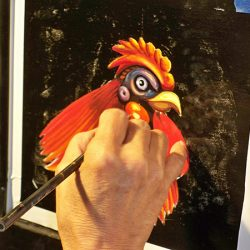 Creating the rooster for Hahn Estates' custom sign