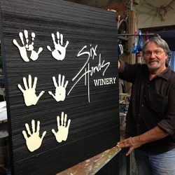 Custom business sign for Six Hands Winery