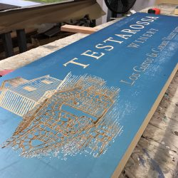 Testarossa Winery sign in production