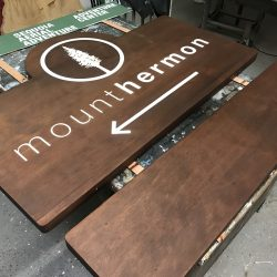 Production of Mount Thermon wood sign