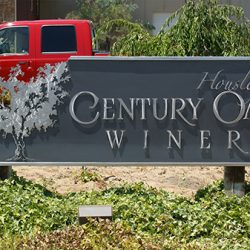 Custom winery sign for Housley's Century Oak Winery
