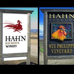 Two custom signs for Hahn Estates winery and vineyard