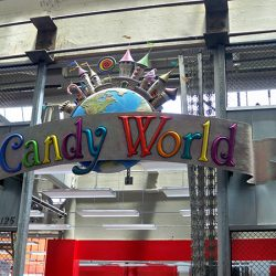 The custom sign for Candy World