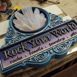 Finishing the custom sign for Rock Your World