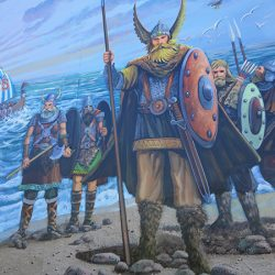 Custom wall mural of vikings on a beach