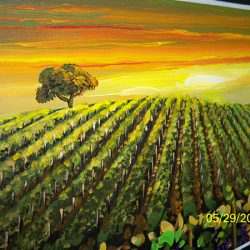 A custom wall mural of a field