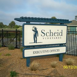 Scheid Vineyards custom vineyard sign