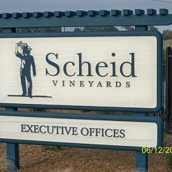 Custom vineyard sign for Scheid Vineyards