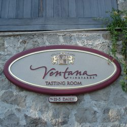 Custom sign for Ventan Vineyards' tasting room