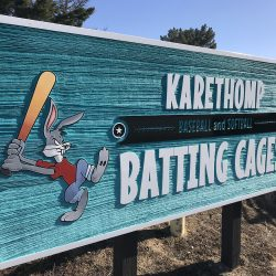 Custom wood signage for Karethomp Batting Cages