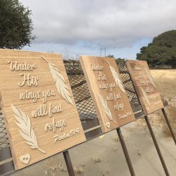 Wood signage of bible verses