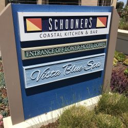 Commercial signage for Schooners and Vista Blue Spa