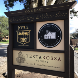 Custom wood signage for Testa Rossa Winery