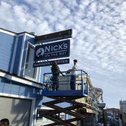 Commercial signage for Nick's On the Bay restaurant