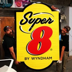 Custom wood sign for Super 8