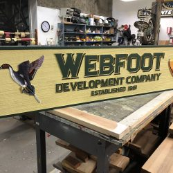 Custom wood sign for Webfoot Development Company