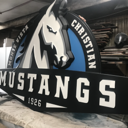 Custom business signage of a mustang for Monte Vista Christian