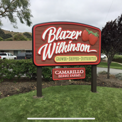Custom wood signage of strawberries for Blazer Wilkinson berry farms