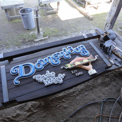 Wood restaurant signage for Domenido's restaurant
