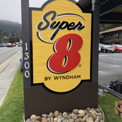Custom wood signage for Super 8 by Wyndham