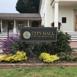 Custom wood signage for the City Hall of Monterey