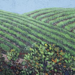 Custom painted mural of green rolling farmland